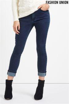 Fashion Union Turn Up High Waisted Jeans