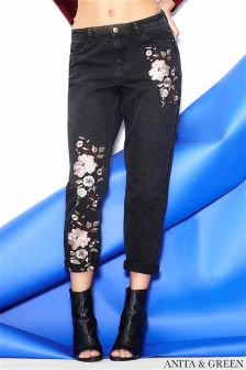 Anita & Green Floral Embroidered Jeans