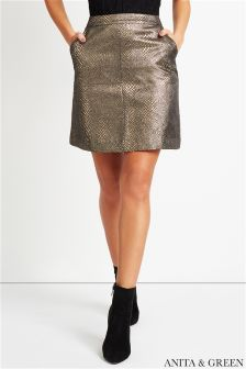 Anita & Green Crackled Metallic A line Skirt