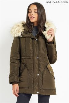 Anita & Green Parka With Glam Fur Trim