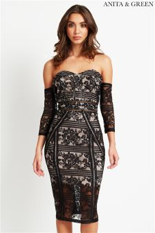 Anita & Green Lace Bardot Midi Dress