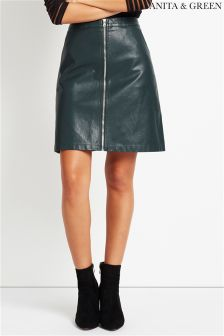 Anita & Green PU Zip Front Mini Skirt