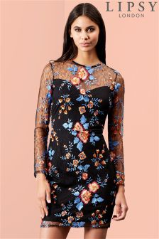 Lipsy Contrast Embroidery Bodycon Dress