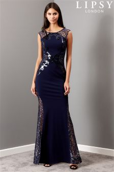 Lipsy Sequin Artwork Lace Insert Maxi Dress