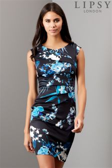 Lipsy Orchid Print Pleat Detail Bodycon Dress