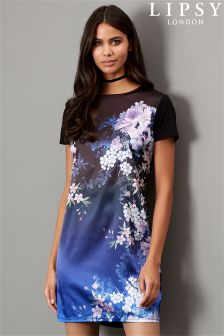 Lipsy Satin Oriental Printed T-shirt Dress
