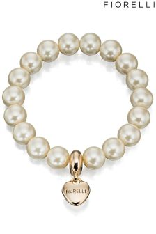 Fiorelli Stretch Pearl Bracelet With Heart Charm