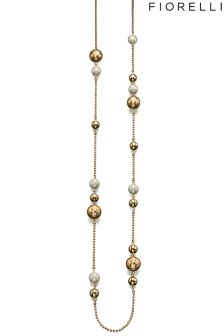 Fiorelli Pearl And Bead Necklace On Ball Chain In Gold