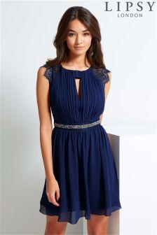 Lipsy Lace Cap Sleeve Prom Dress