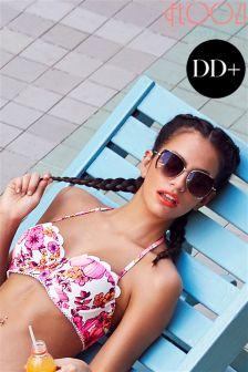 Floozie Floral Print Bikini Top DD+