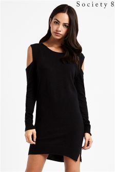 Society 8 Cold Shoulder Jumper Dress