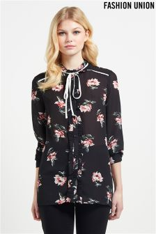 Fashion Union Floral Neck Tie Blouse