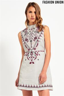 Fashion Union Embroidered Skater Dress