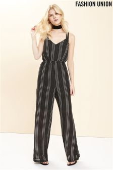 Fashion Union Cross Over Stripe Jumpsuit