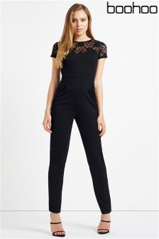 Boohoo Black Lace Jumpsuit
