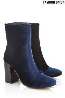 Fashion Union Zip Back Block Heel Boots