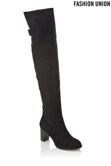 Fashion Union Over The Knee Block Heel Boot