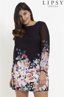 Lipsy Curve Rosebud Print Shift Dress