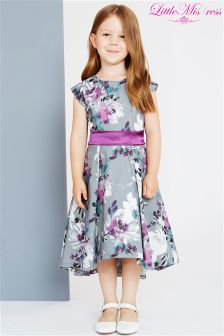 Little Misdress Grey Floral Print Dress With Bow