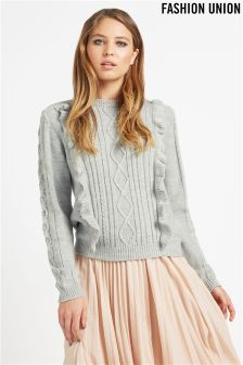 Fashion Union Frill Cable Knit Jumper