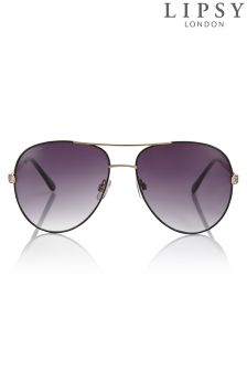 Lipsy Aviator Style Sunglasses With Diamanté Arm Detail