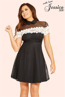 Jessica Wright Tie Neck Skater Dress