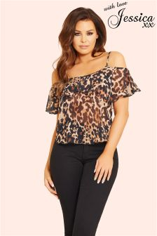 Jessica Wright Animal Cold Shoulder Top