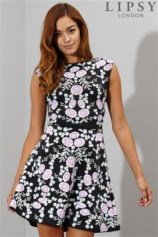 Lipsy Puff Floral Print Skater Dress