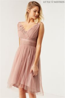 Little Mistress Bridesmaid Mesh Prom Dress