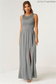 Little Mistress Bridesmaid Jewel Neck Maxi Dress