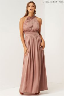 Little Mistress Bridesmaid Frill Halter Neck Maxi Dress