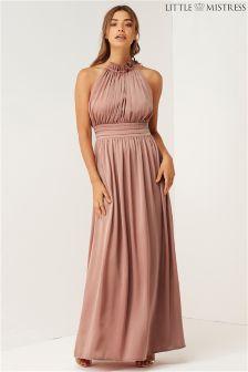 Little Mistress Bridesmaid Frill Halter Neck Maxi Dress