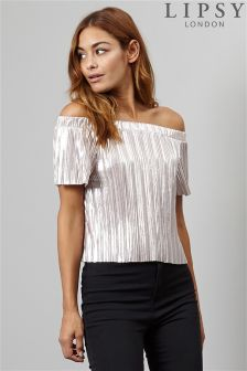 Lipsy Metallic Plissé Bardot Top