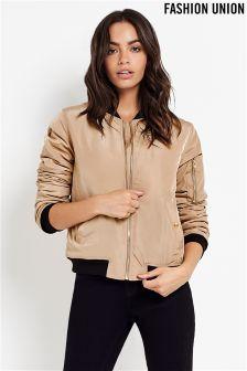 Fashion Union Taupe Bomber Jacket