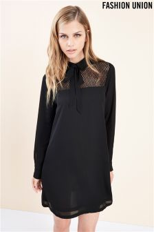 Fashion Union Neck Tie Shift Dress