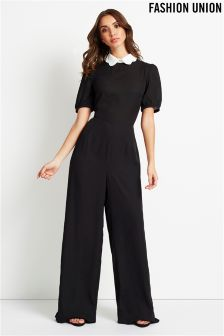 Fashion Union Contrast Collar Jumpsuit