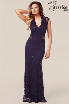 Jessica Wright Lace Panel Maxi Dress