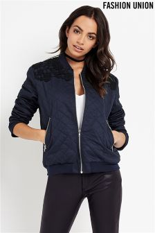 Fashion Union Quilted Bomber Jacket