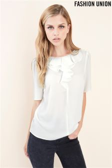 Fashion Union White Frill Top