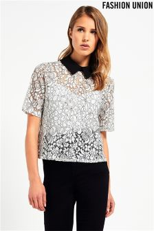 Fashion Union Floral Lace Blouse
