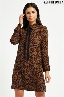 Fashion Union Animal Print Shift Dress