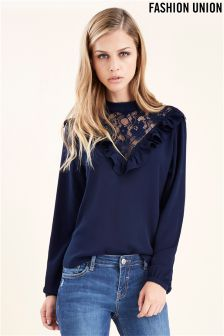 Fashion Union High Neck Frill Blouse