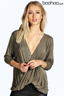 Boohoo Plunge Neck Drape Long Sleeved Top