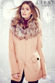 Lipsy Faux Fur Collar Coat