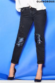 Glamorous Sequin Knee Patch Jeans