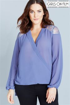 Girls On Film Curve Blouse With Lace Inserts