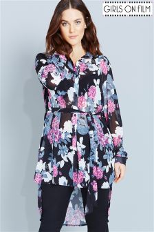 Girls On Film Curve Floral Print Shirt With Tie