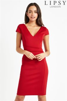 Lipsy Pleated Cap Sleeve Bodycon Dress