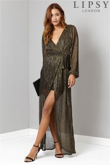 Lipsy Glitter Tie Maxi Dress