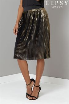Lipsy Metallic All Over Pleated Skirt